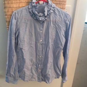 j. Crew shirt riffled neck Sz m stripe blue white